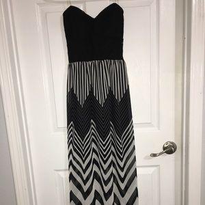 Long strapless open back dress